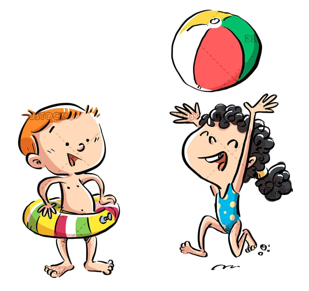 Children with swimming trunks in summer