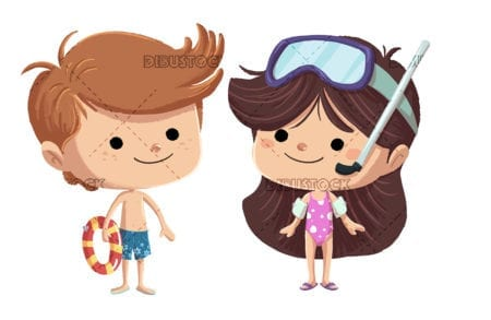Children with swimming trunks in summer isolated