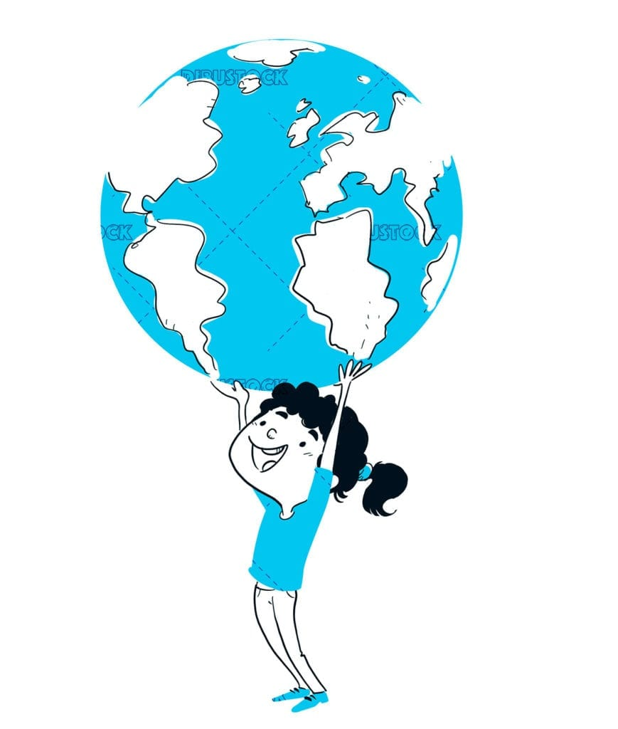 Girl playing with planet earth in blue