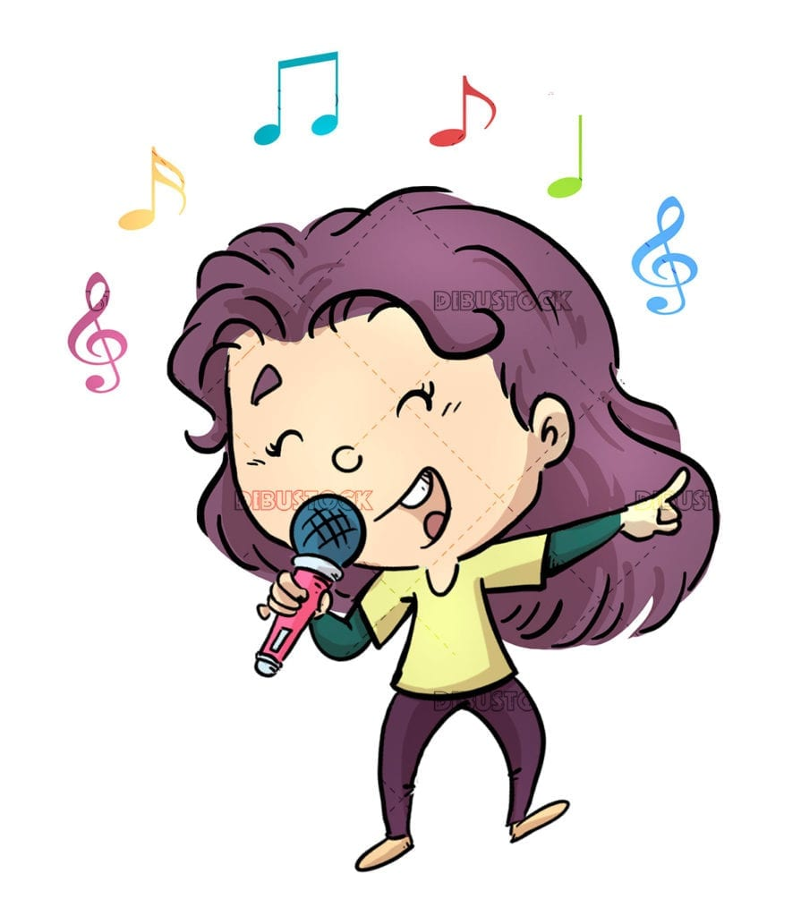 Girl singing with microphone