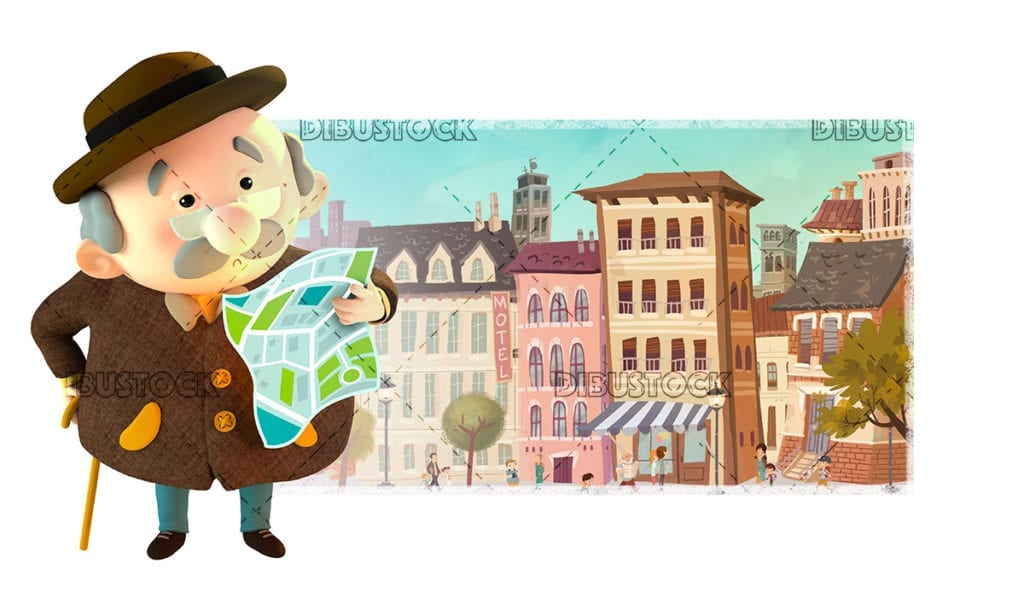 Grandfather in town with a little lost map. 3d illustration