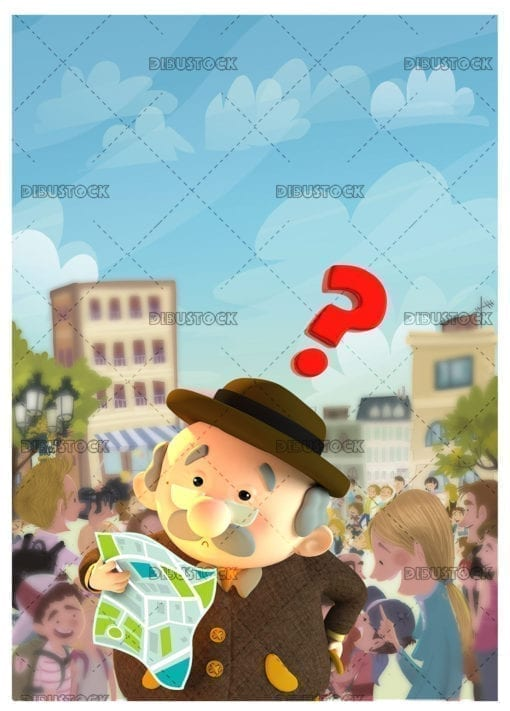 Grandfather lost in the city looking at a map with a question mark symbol. 3d illustration