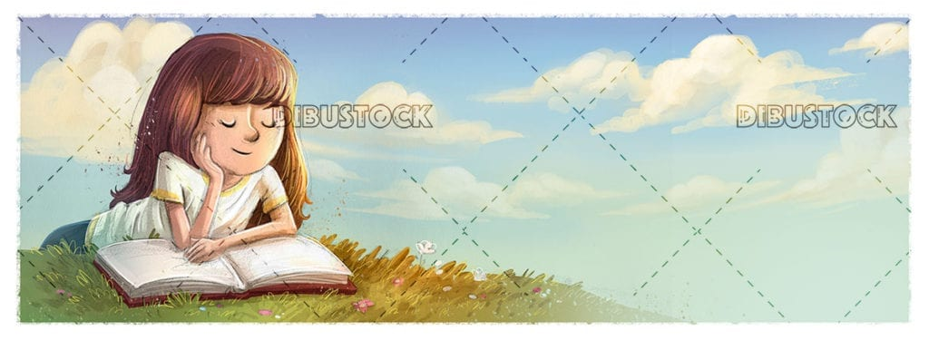 Little girl reading on the meadow