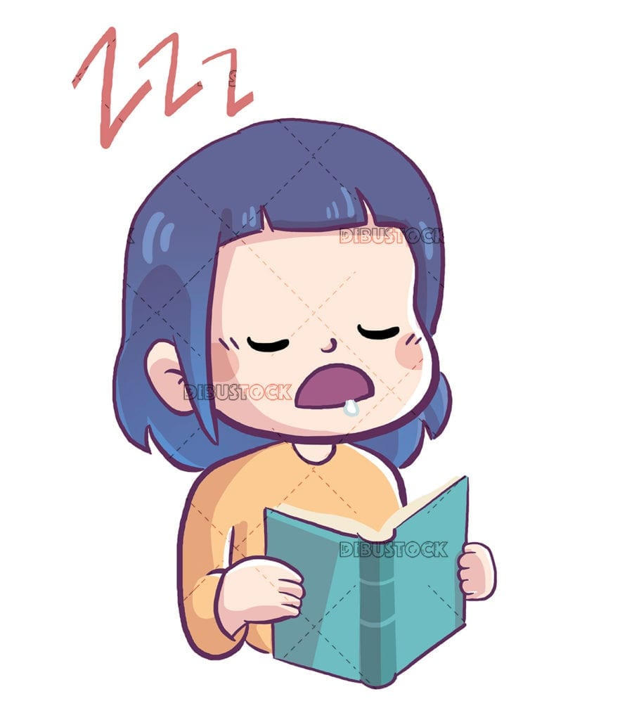 Little girl sleeping while reading a book
