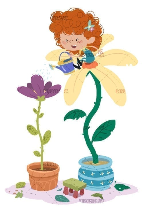 Little girl watering climb on a giant flower
