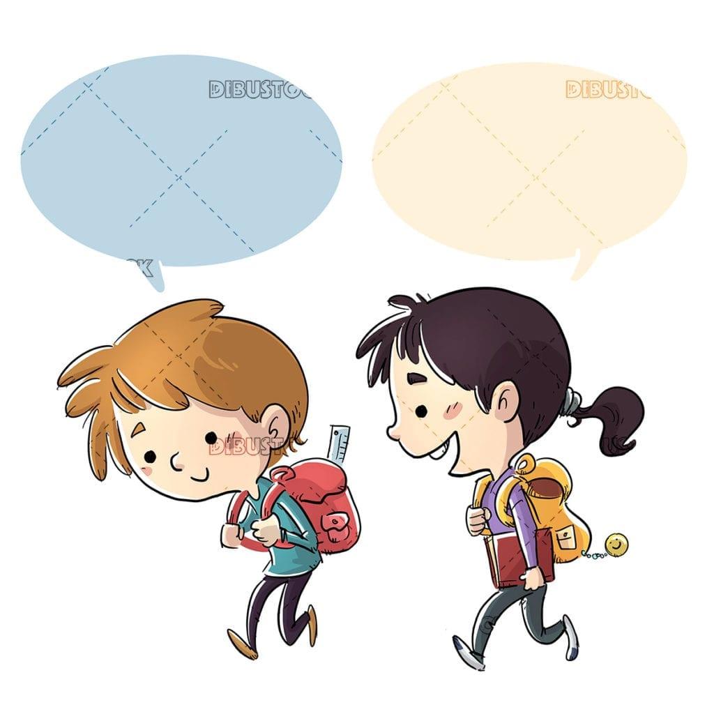 Student children walking to school