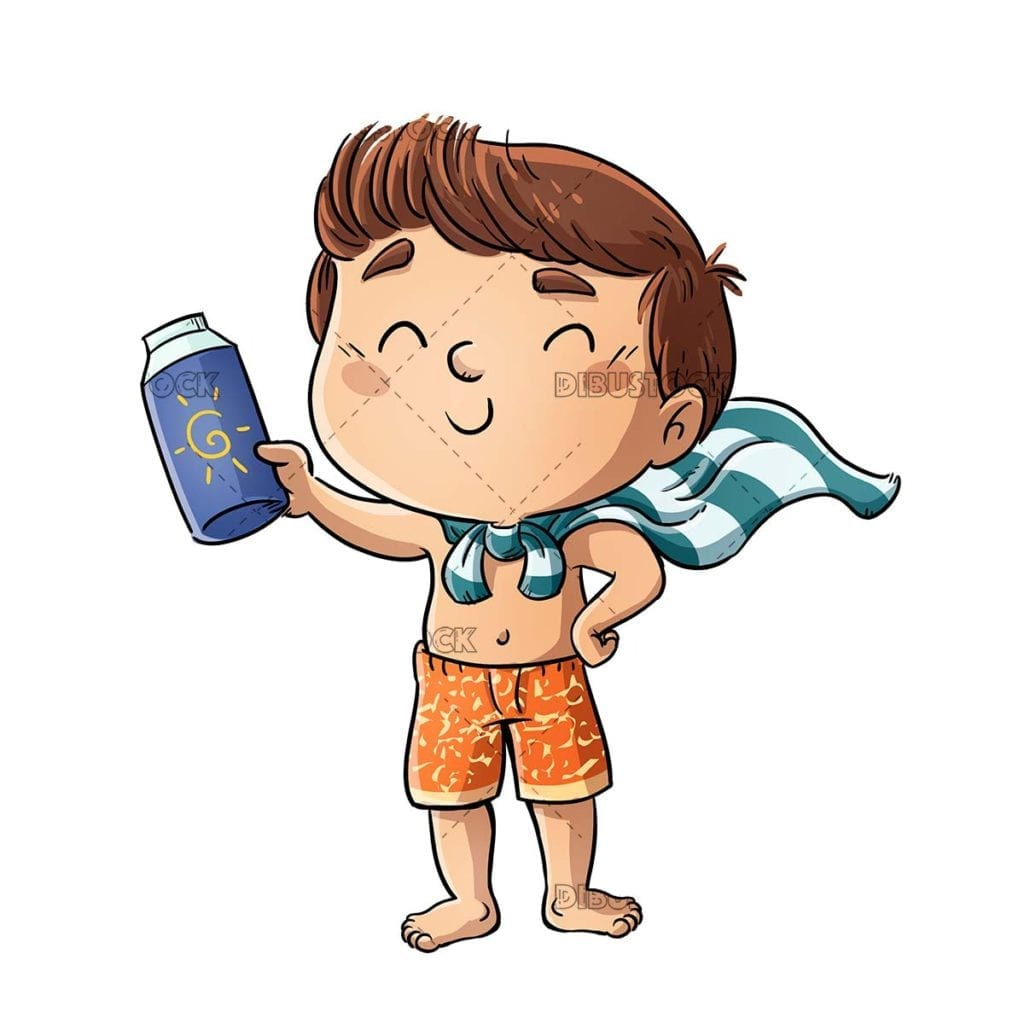 Boy in a swimsuit with skin protection