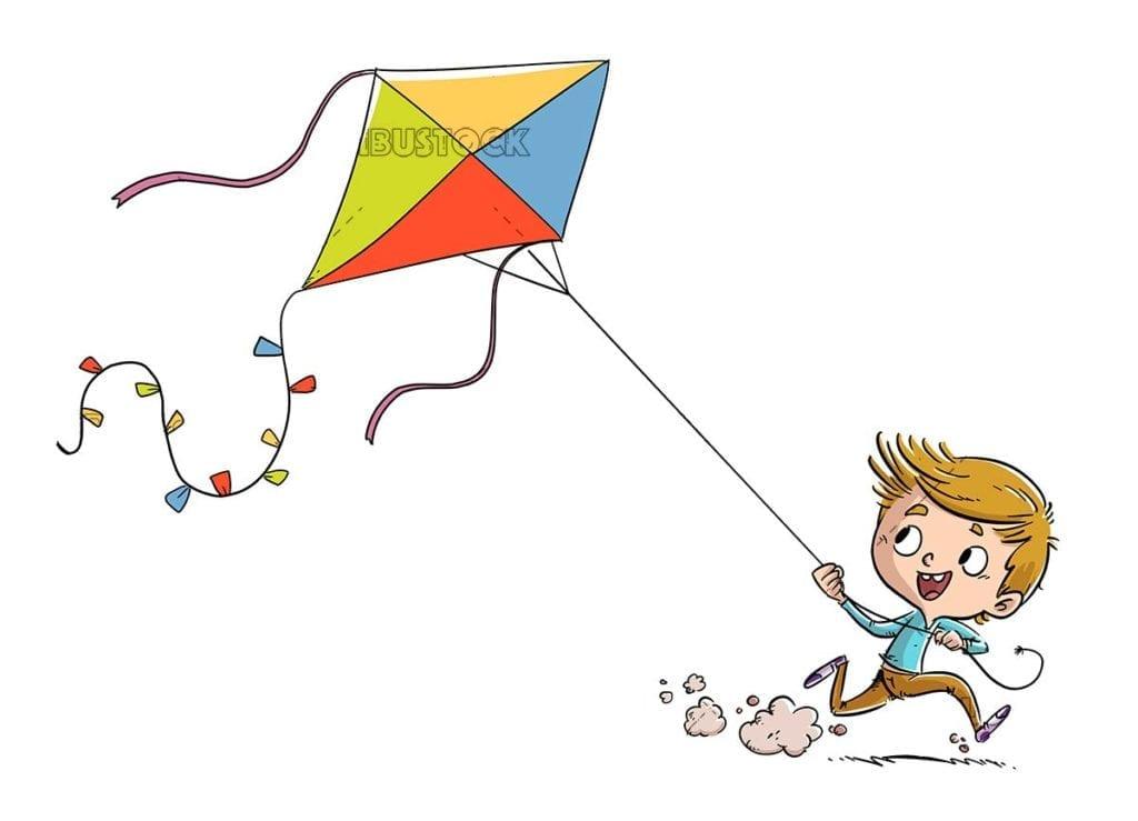 Boy running with kite