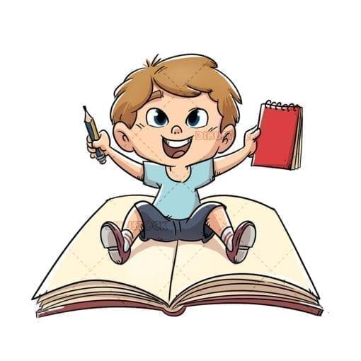 Boy sitting on giant book