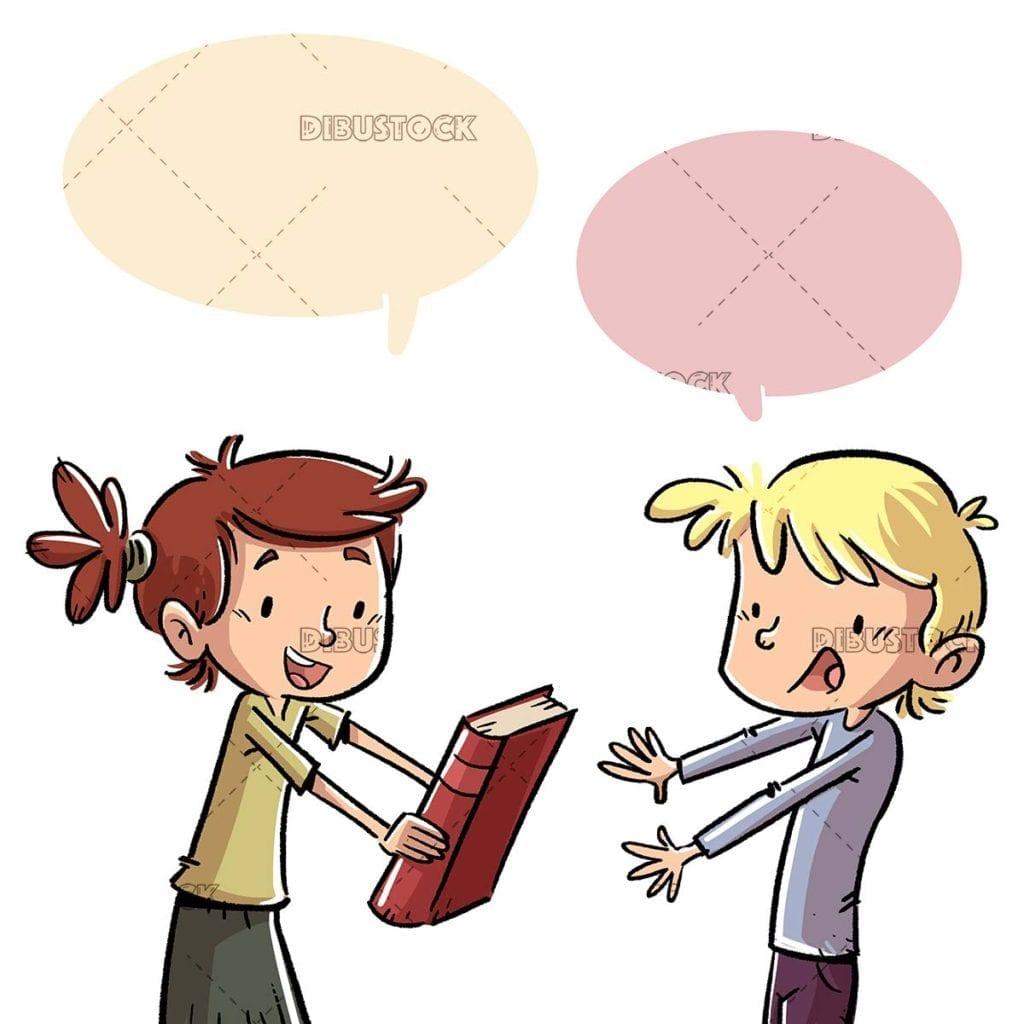 Children giving away a book