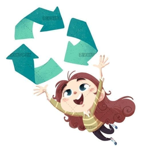 Girl jumping with recycle symbol