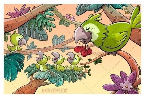 Green parrot family