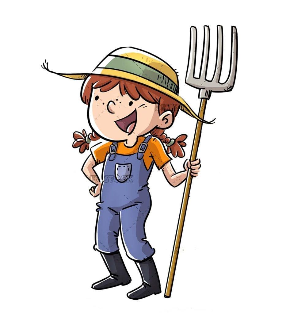 Happy little farmer girl