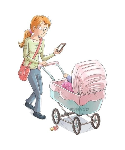 Mother with baby carriage while looking at the mobile