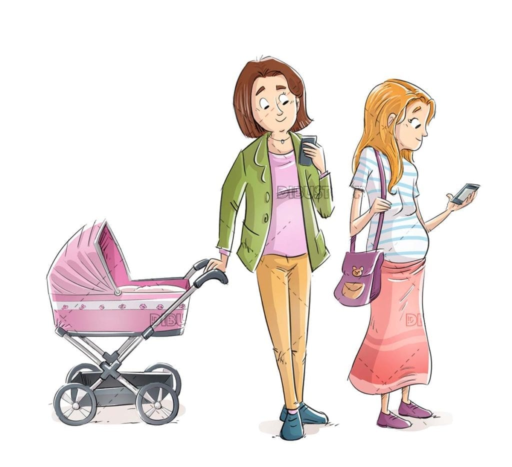 Mothers looking at the mobile