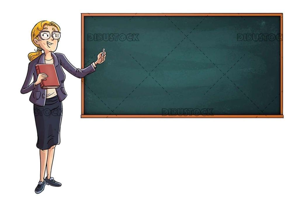 School teacher pointing at a blackboard