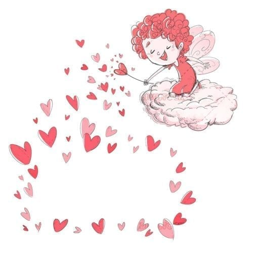 Valentine girl fairy with hearts