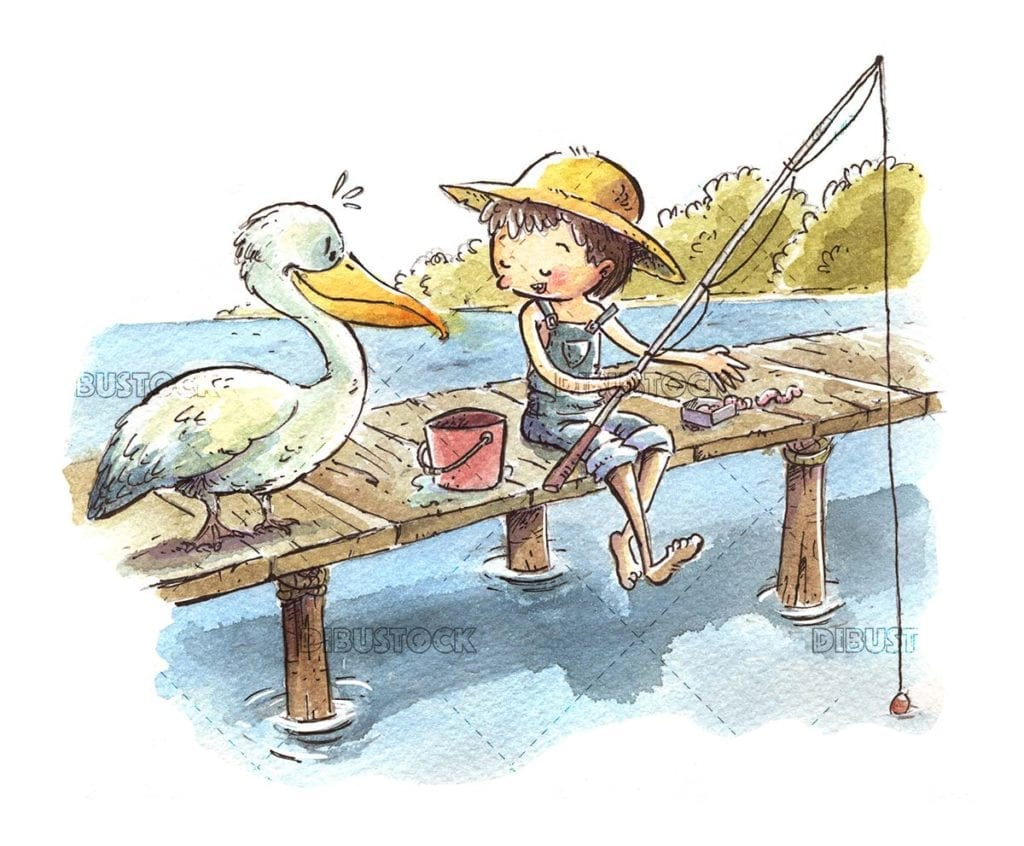 Boy fishing with pelican beside