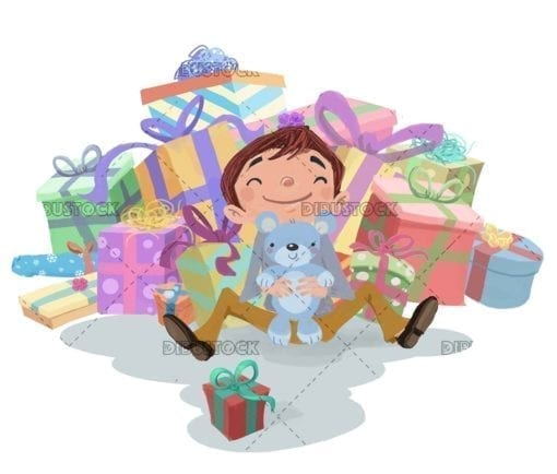 Boy sitting with many gifts