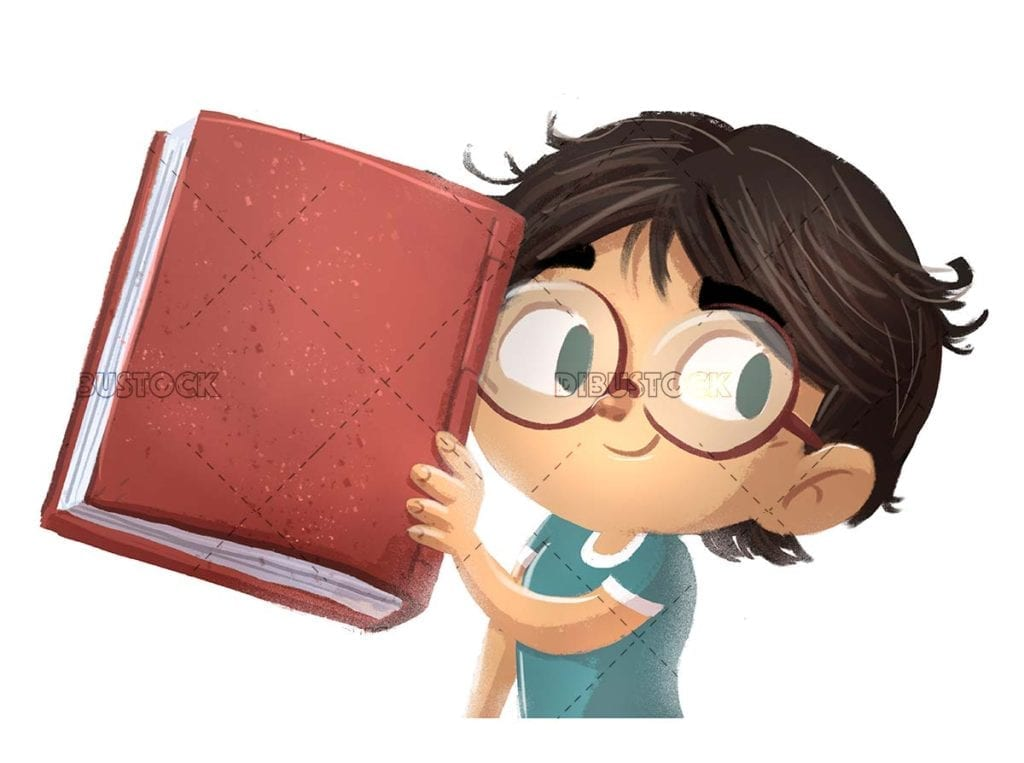 Boy with glasses and book in hand