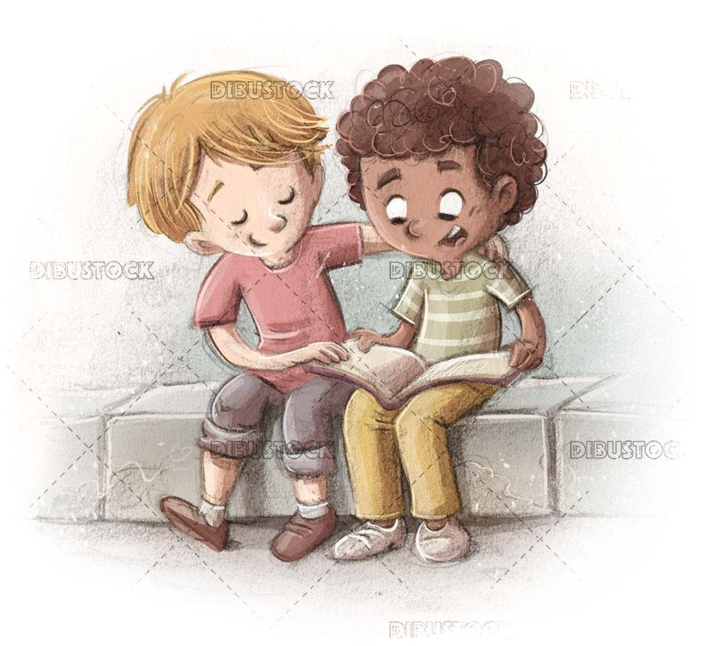 Children of different ethnicities reading