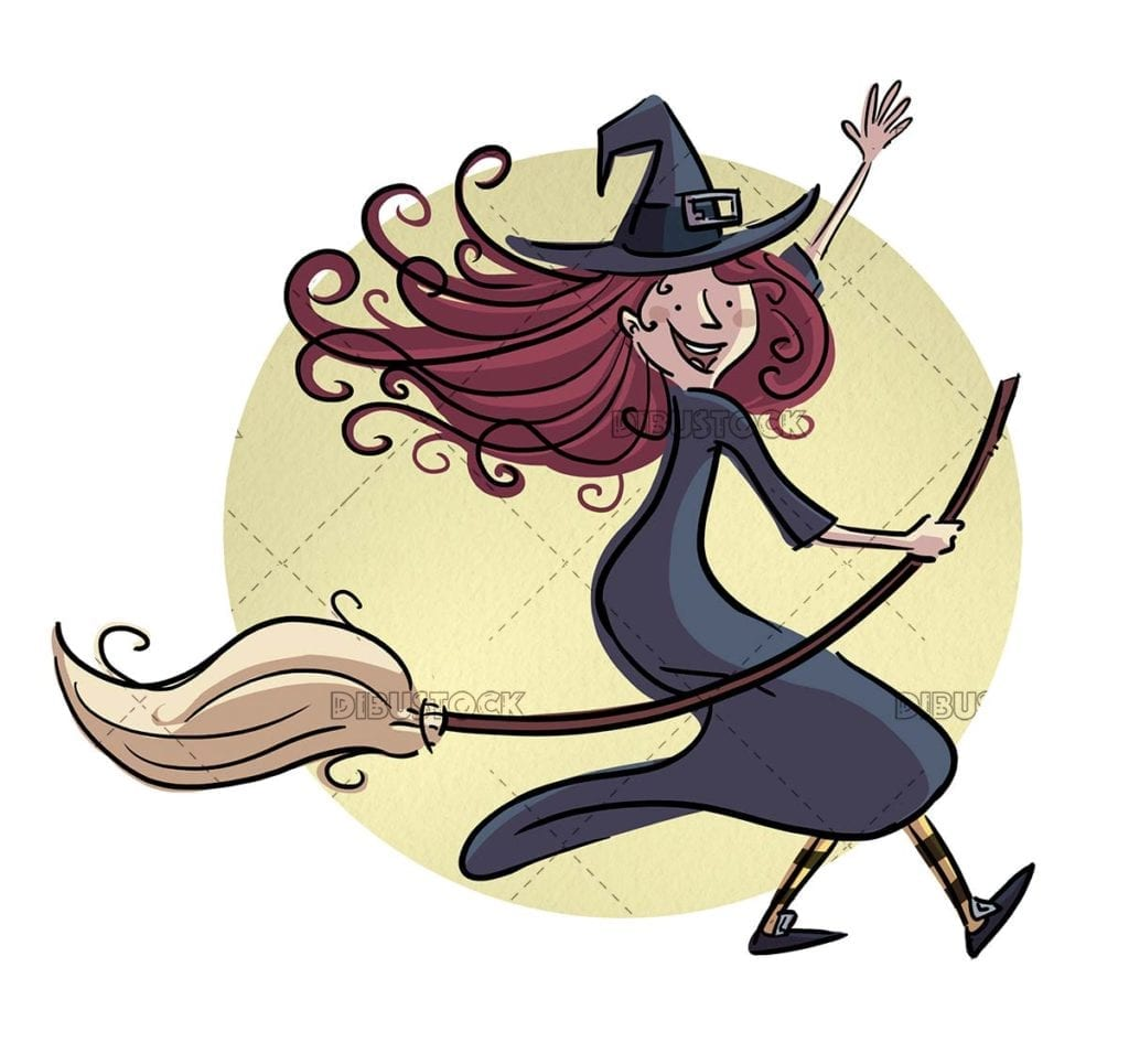 Happy witch flying with broom