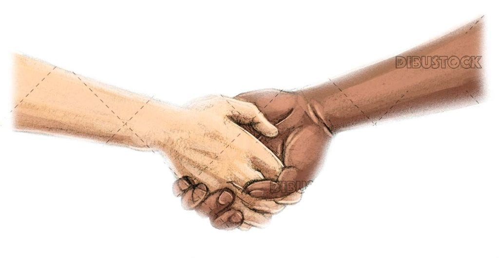 Holding hands of different races