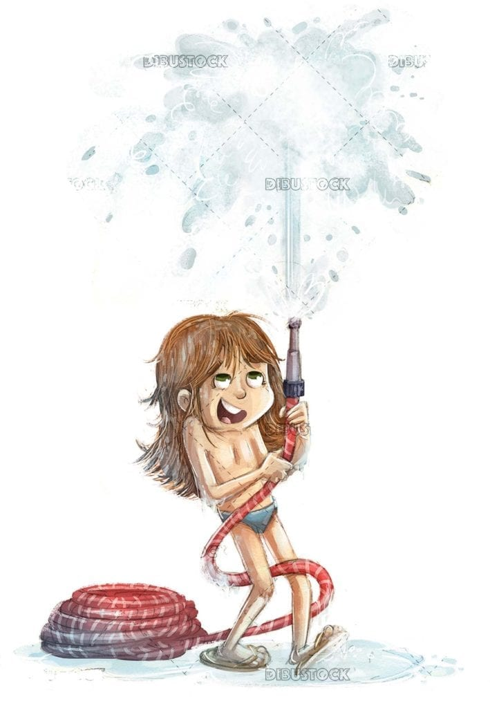 Little girl playing with water hose