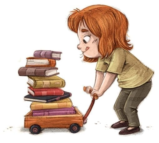 Little girl with book cart