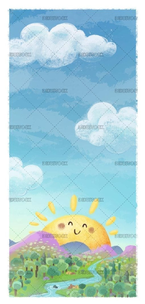 Mountains landscape with sun