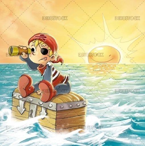Pirate boy in the sea