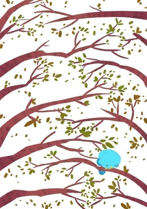 Sad bird on a tree branch