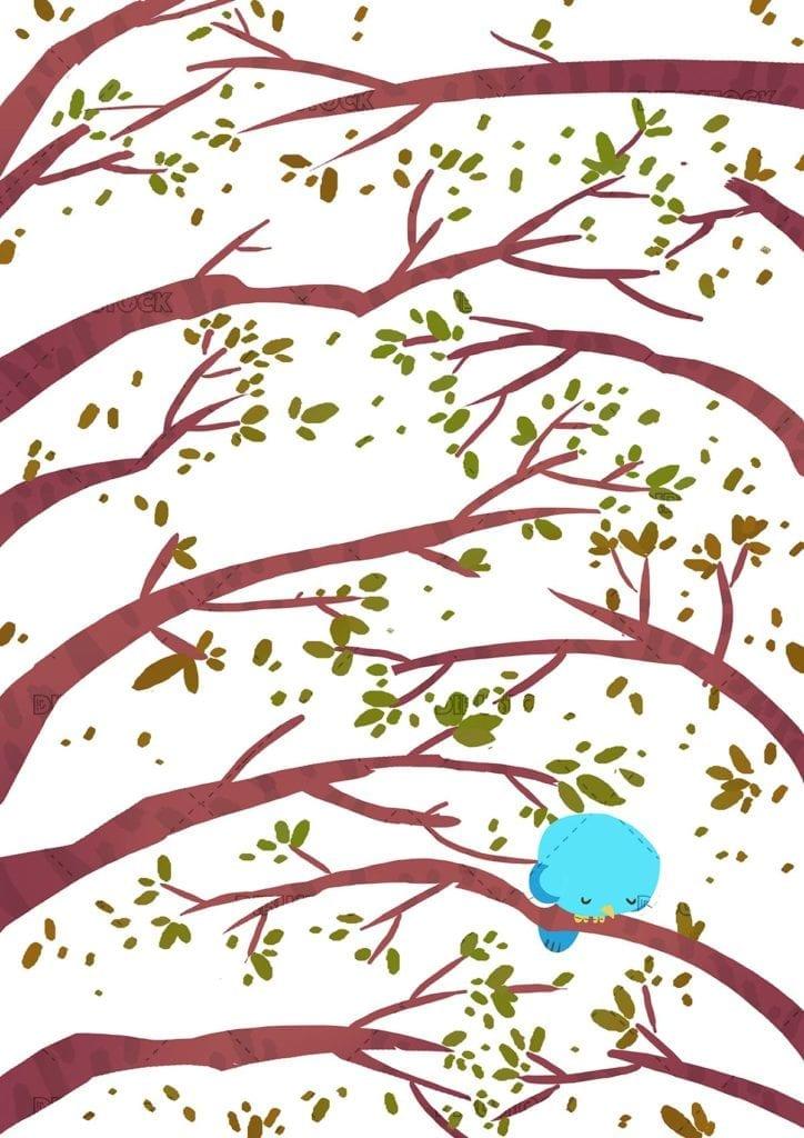 Sad bird on a tree branch
