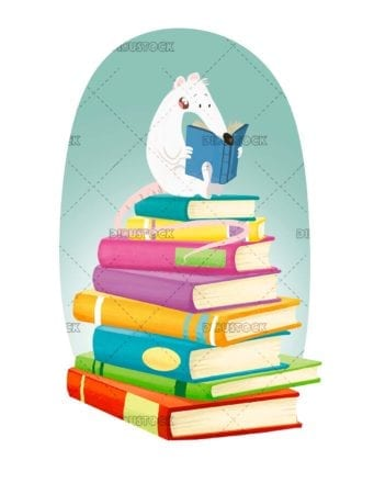 White rat reading a book