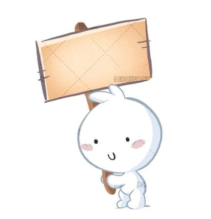 Adorable character holding a sign to announce something