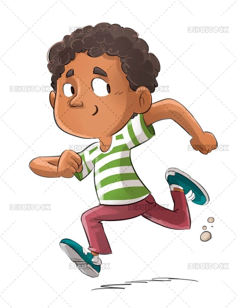 African American boy running happy