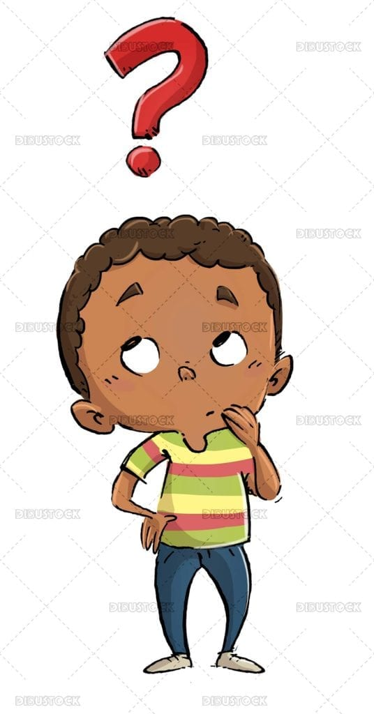 African American boy thinking with question mark