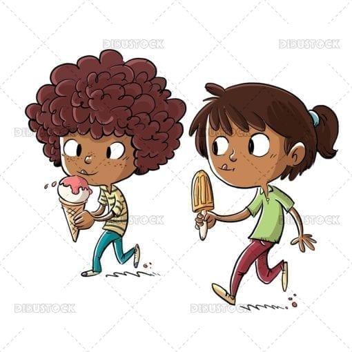 African American children eating ice cream