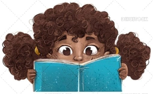 African American girl face reading a book