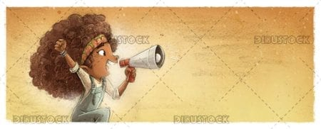African American girl with megaphone