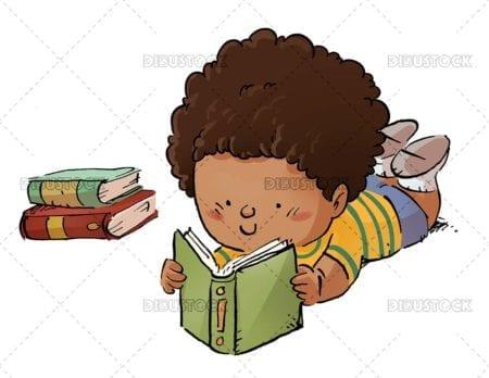 African american girl lying reading
