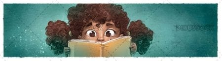 Afro girl face with book