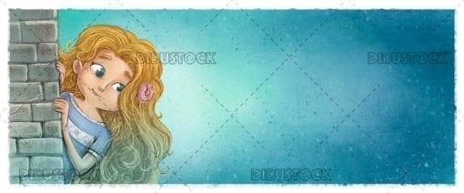 Blonde girl hiding behind a wall
