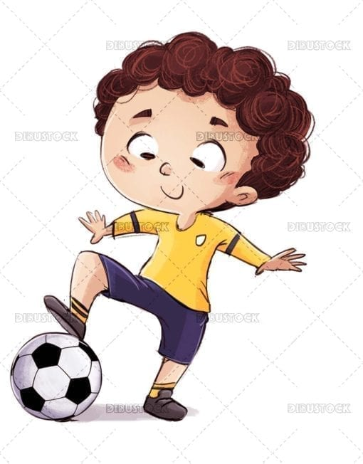 Boy doing tricks with soccer ball