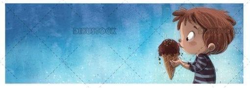 Boy eating ice cream on blue background