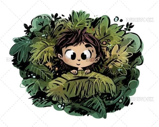Boy hiding among the leaves in the jungle