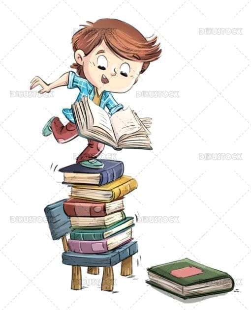 Boy in a chair with pile of books