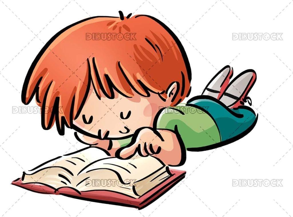 Boy lying down reading a book