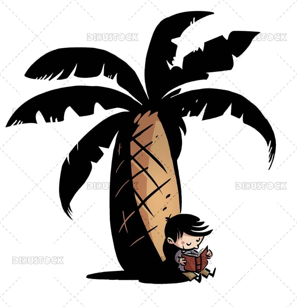 Boy reading sitting on a palm tree