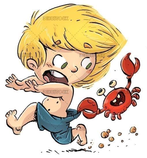 Boy running with crab